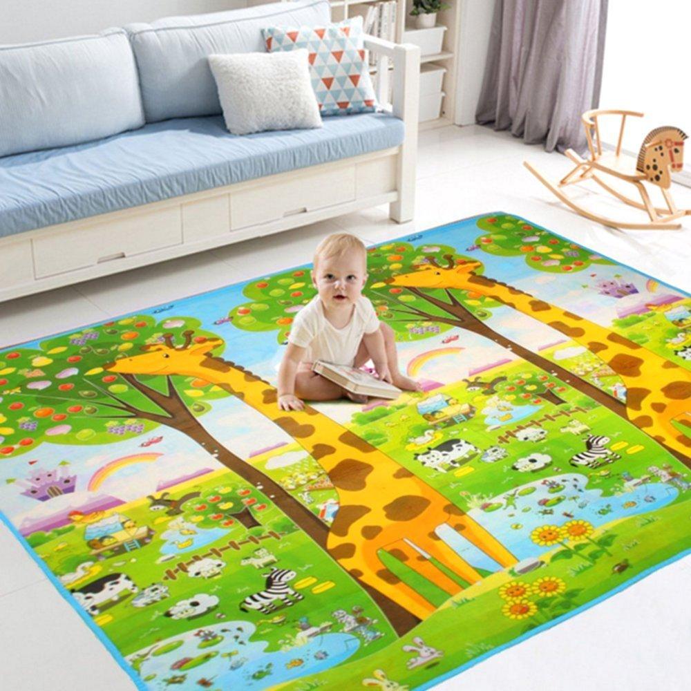 BigTree Krabbeldecke Groß Spieldecke Baby Spielmatte Spielteppich, Hautfreundlich und Anti-Rutsch, Babyschleichenmatte Schaumstoffmatte 200 x 180 cm für Baby- und Kinderzimmer (Giraffe/Alphabet) Newbee BT-30188