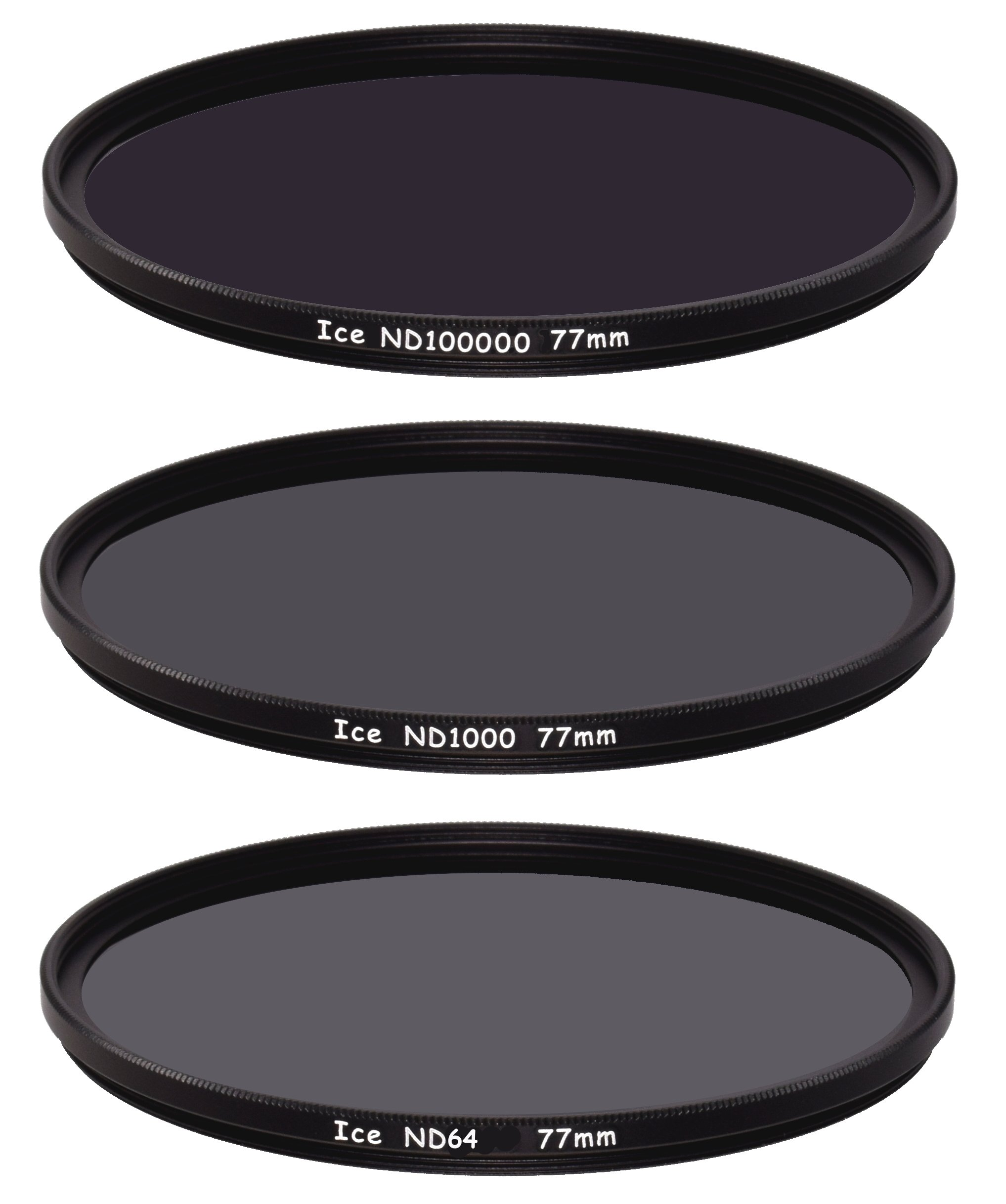 ICE 77mm Extreme ND 3 Filter Set ND100000 ND1000 & ND64 Neutral Density 6, 10, 16.5 Stop Optical Glass by Ice
