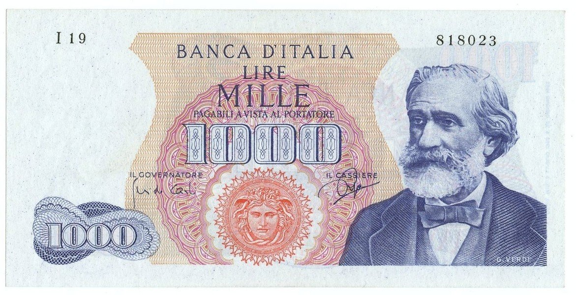 Cartamoneta  1000 Lire Giuseppe Verdi I Tipo Medusa Data Rara 05 07 1963 SPL+ SUP