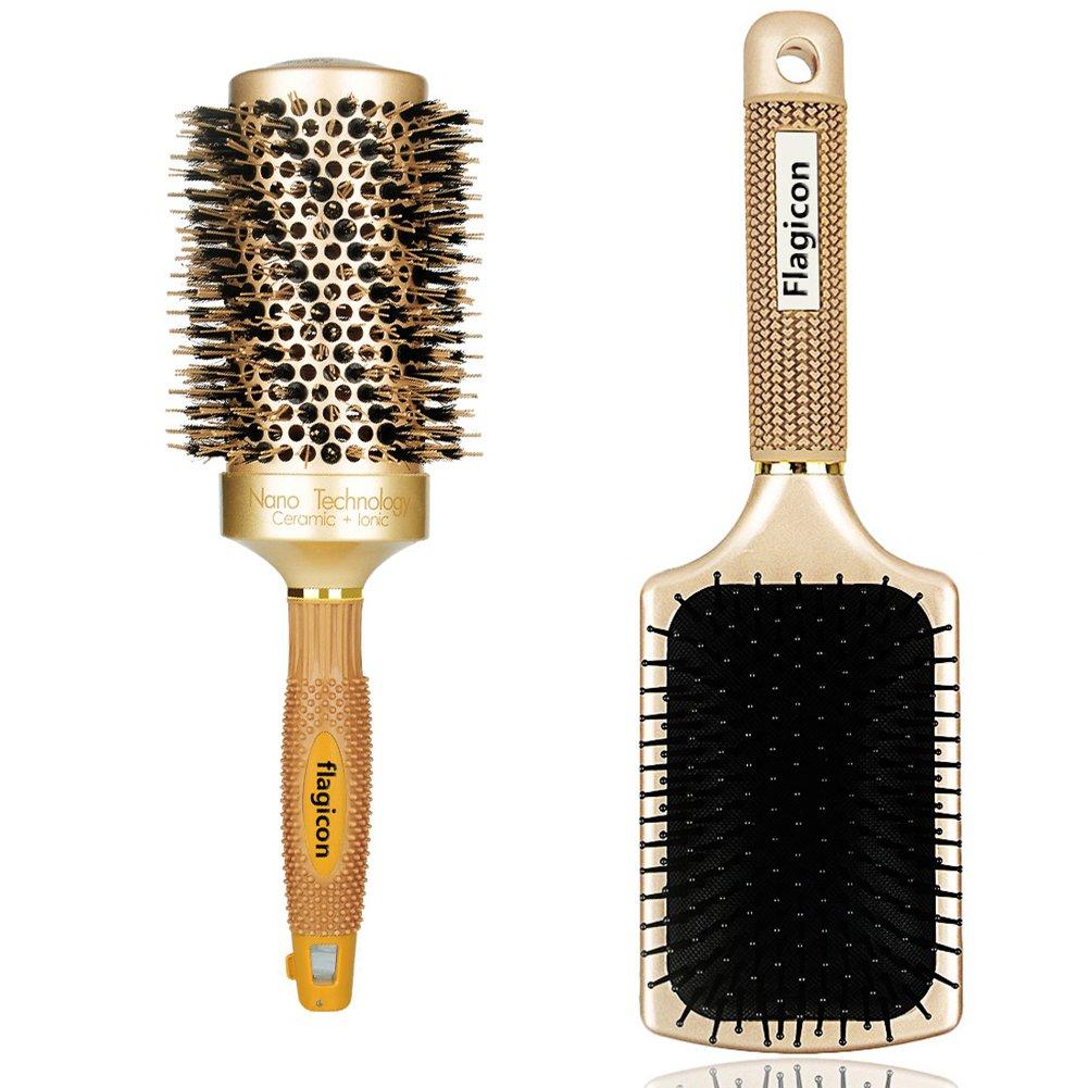 Runde Haarbürste Nano Thermische Keramik-Fass mit Natürlichen Wildschweinborsten zum Föhnen, Stylen der Frisur, zum Richten, erhöht das Haar-Volumen und Bringt Glanz,1.8 Zoll +Paddel-Bürste 1.8 Zoll +Paddel-Bürste Flagicon