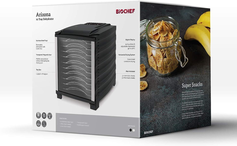 puerta transparente BPA Free y Tritan Temporizador Deshidratador de alimentos BioChef Arizona 10 bandejas de acero inoxidable Negro bandejas m/óviles