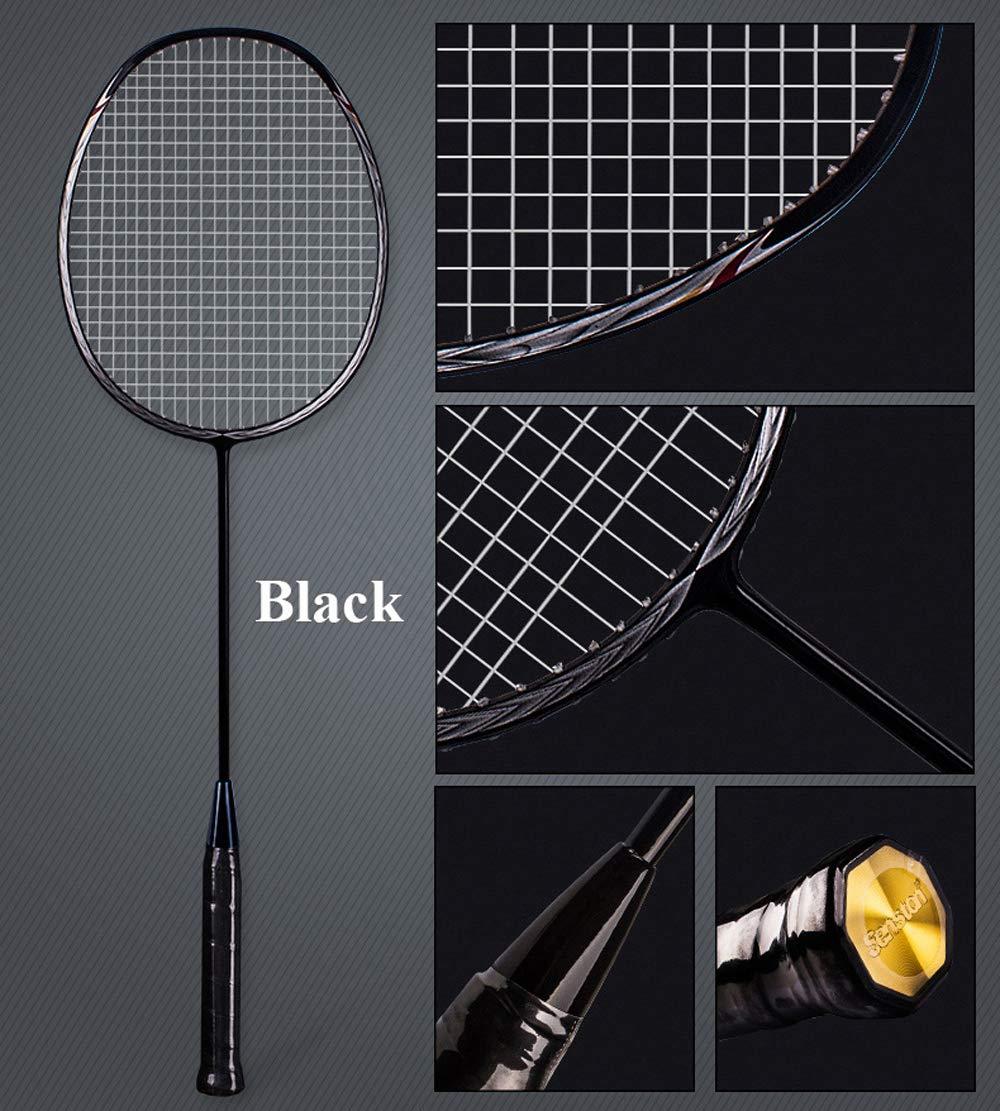 Senston N80 Graphite High-Grade Badminton Racquet,Professional Carbon Fiber Badminton Racket Included Black Gold Color Rackets 2 Carrying Bag by Senston (Image #2)