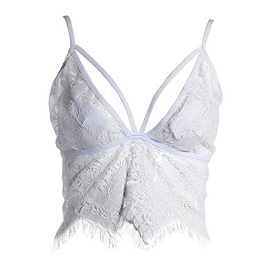 0f65e76f63a maboobie Women's Lace Floral Tank Tops Bralette Bralet Bra Bustier Crop Top  Cami Unpadded (S