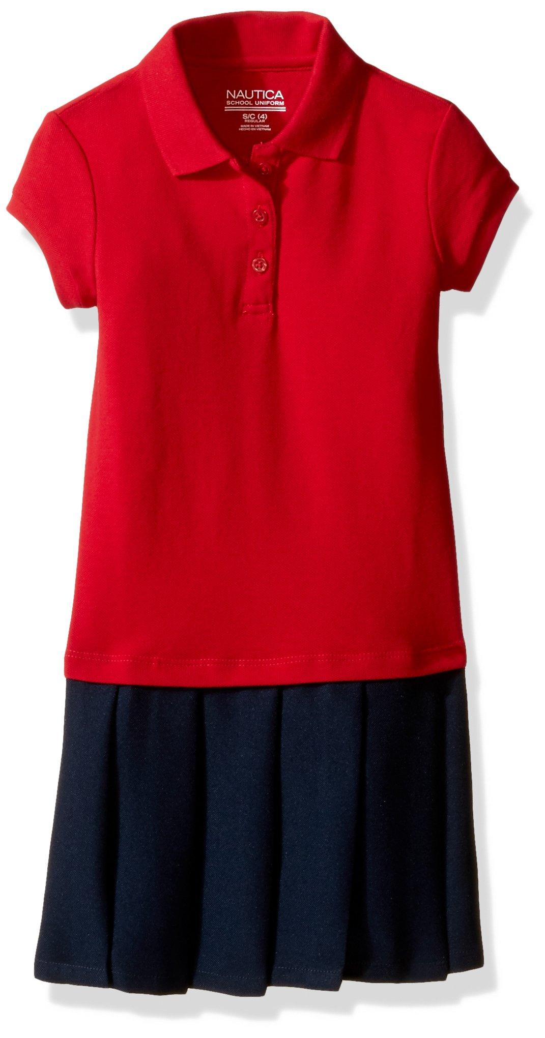 Nautica Little Girls' Uniform Pique Polo Pleated Dress, Red, 6