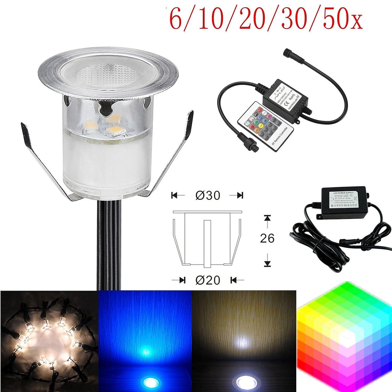 埋め込み式ライト FVTLED スポットライト 地中埋込型ライト 12V 0.6W IP67防水 LED 照明 高輝度 省電力 複数延長可能 ガーデン 庭 屋外用 (20個セット, 多色) B0776SF6CL 20個セット 多色