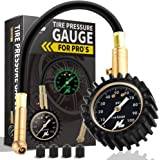 """HUANZHAN Heavy Duty Tire Pressure Gauge (0-100 PSI)- Certified ANSI B40.1 Accurate with Large 2"""" Easy Read Glow Dial and Rubber Hose, Perfect for Car, Suv, Rv, Atv, Truck, Motorcycle"""