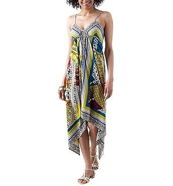 5f150b6f9895 Promod Robe foulard à fines bretelles Imprimé Vert d eau 38  Amazon ...