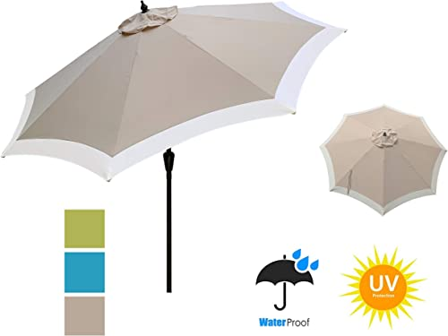 APEX GARDEN Dual Color 9 ft 8 Ribs Outdoor Patio Table Market Umbrella Push Button Tilt and Crank Lift, Oxford Tan Beige