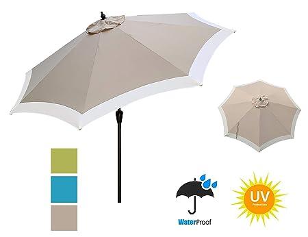 APEX GARDEN Dual Color 9 ft 8 Ribs Outdoor Patio Table Market Umbrella Push Button Tilt and Crank Lift, Oxford Tan Beige