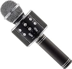 Wireless Karaoke Handheld Microphone Bluetooth with USB KTV Player - WS858, Black