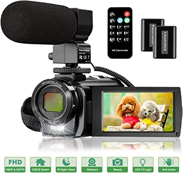 Amazon Com Video Camera Camcorder With Microphone Fhd 1080p 30fps 24mp Vlogging Camera Recorder 3 0 Inch 270 Degree Rotation Screen 16x Digital Zoom Youtube Camera Camcorder With Remote Control 2 Batteries Electronics