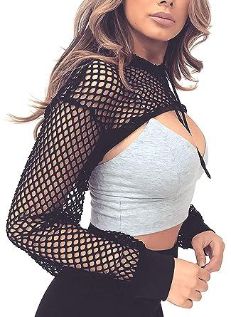 5b29de7fc3a HaoDian Women s Sexy Mesh See Through Crop Top Hollow Out Elastic Fishnet  Hooded Sheer Shirts Black