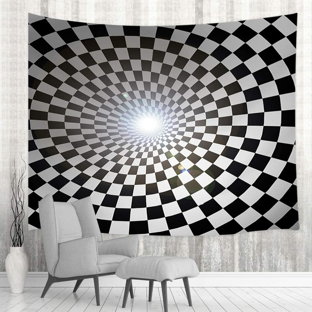 Amazon Com Modern Art Psychedelic Trippy Cave Tapestry Wall Hanging Black And White Chequered Checkered Wall Blanket Wall Tapestry Art Home Decor For Bedroom Living Room College Dorm Bedspread Room 60x40in Everything Else