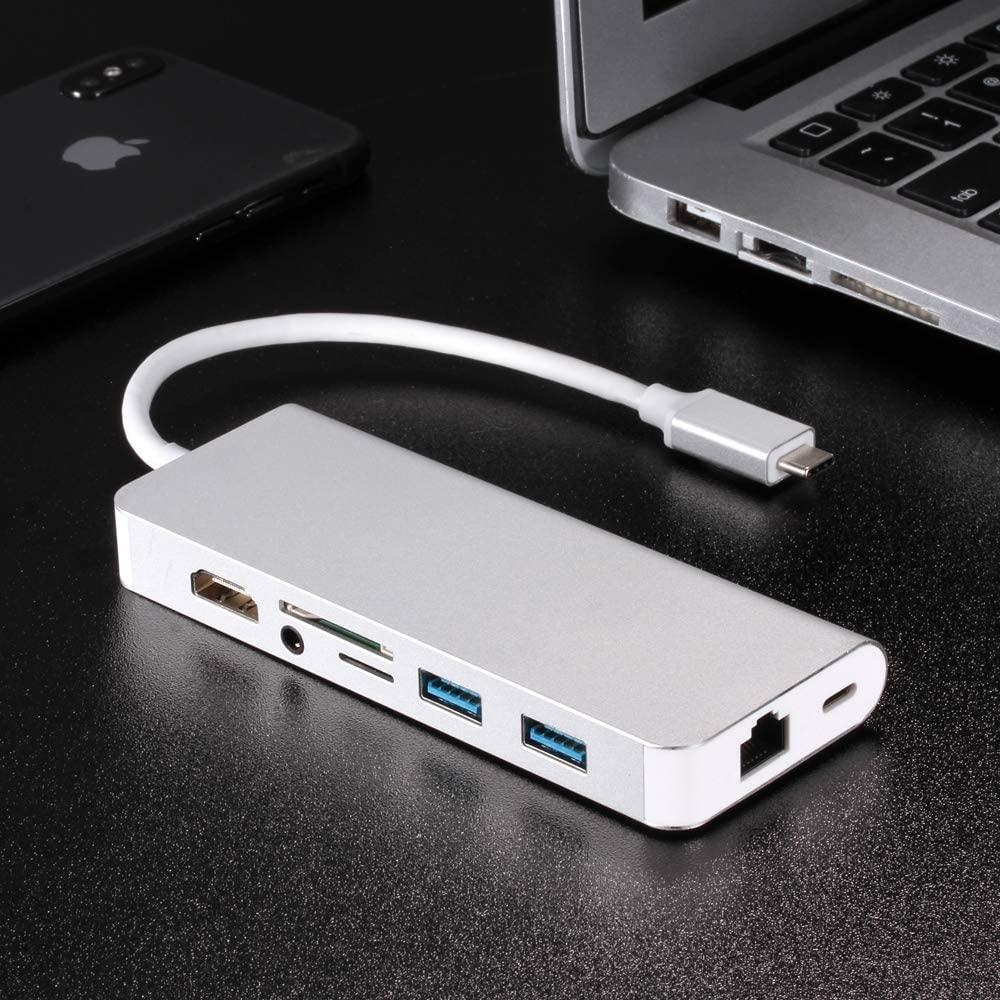 Color : Silver Gray Type-c Turn hdmi Gigabit Network Card Multi-Function Converter HDMI+RJ45+PD+Audio+USB3.02+SD+TF Eight-in-one Expansion Dock Multi-Function HUB Durable