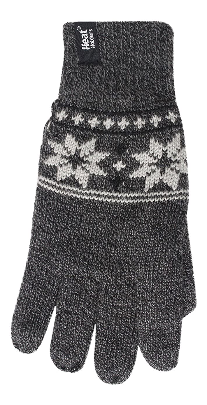 HEAT HOLDERS Mens Thermal 2.3 tog Fairisle Jaquard Knitted Gloves Gray L//XL