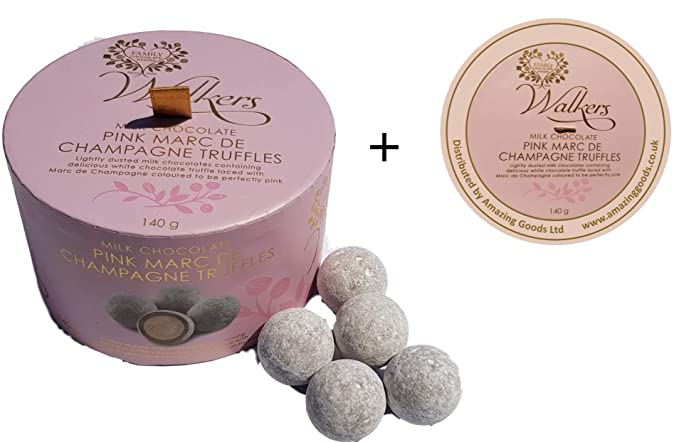 Walkers Pink Marc De Champagne Truffle Drum Plus Free Coaster Mat (Limited Edition) by Walkers Chocolate