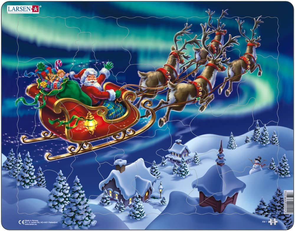 26 Piece Boxless Tray /& Frame Jigsaw Puzzle Larsen XM1 Santa Claus and His Sleigh in Northern Lights