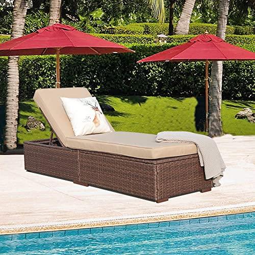 Patiorama Outdoor Patio Chaise Lounge Chair, Adjustable Pool Rattan Chaise Lounge Chair with Cushion, Espresso Brown PE Wicker,Steel Frame