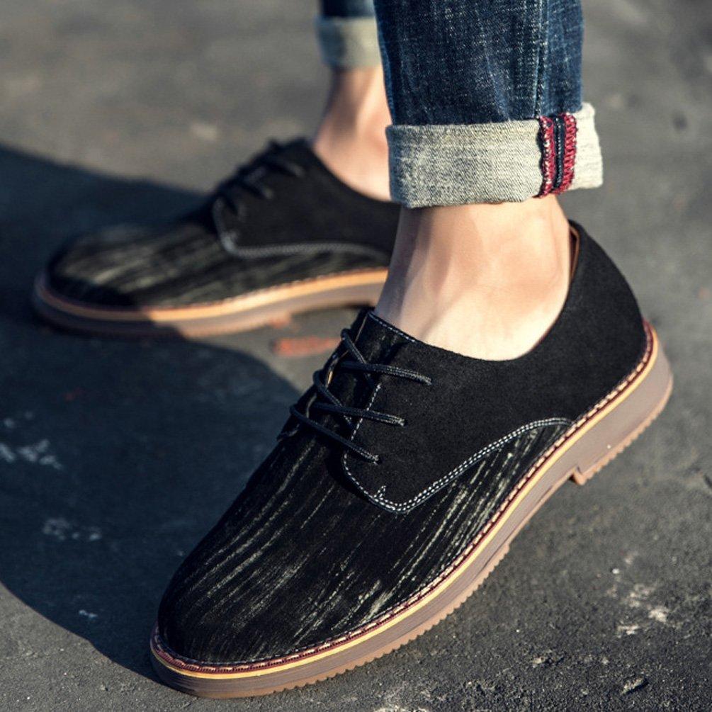 Herren Chelsea Schuhe Elegant Oxford Rutschfest Gummi Schnürhalbschuhe Sohle Leichte Modische Büro Schnürhalbschuhe Gummi Schwarz ad6c20