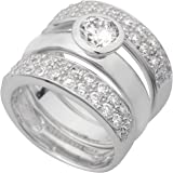 925/- Sterling-Silber Damen Ring-Set 3-teilig mit 57 funkelnden klaren Zirkonia