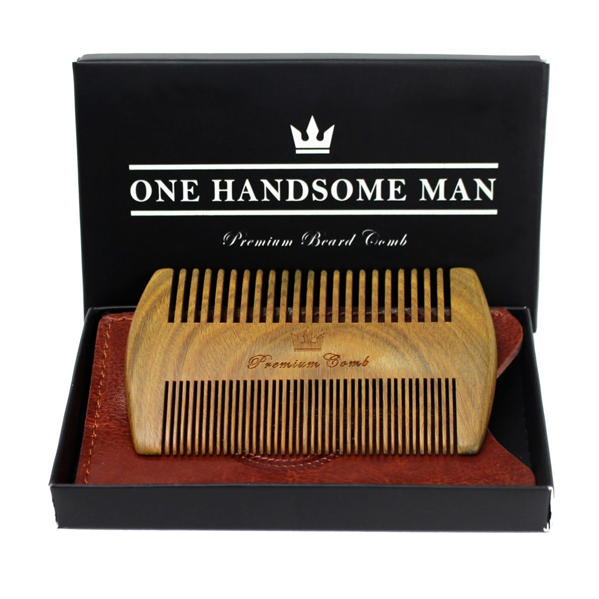 Beard Comb Kit by One Handsome Man - Unique Gifts For Men - Perfect as Birthday Gifts For Men or Anniversary Gifts For Men - With Leather Travel Case and Gift Box VP-C7SP-WRTG