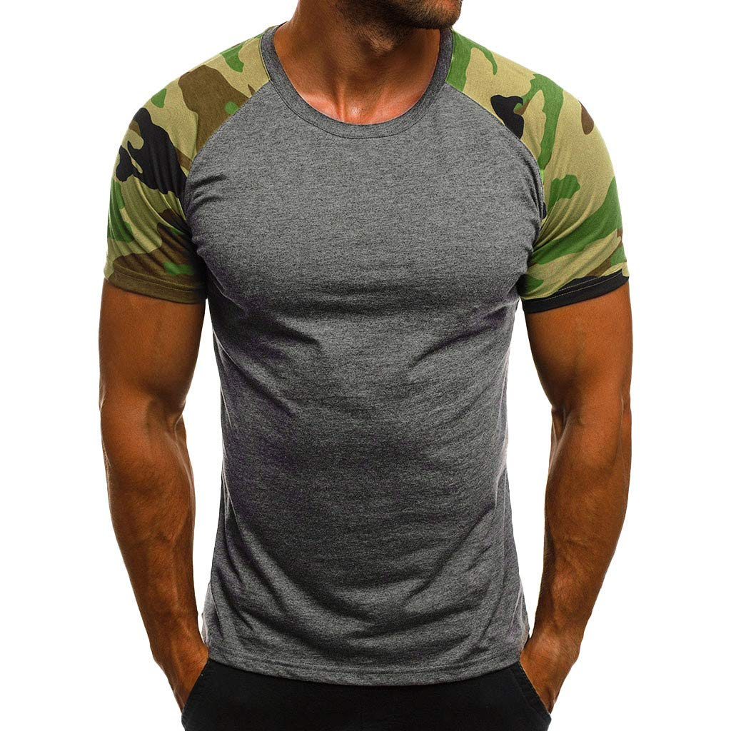 YOMXL Mens Camo T Shirt, Camouflage Printed Short Sleeve Tops Classic Patchwork Hipster Tee