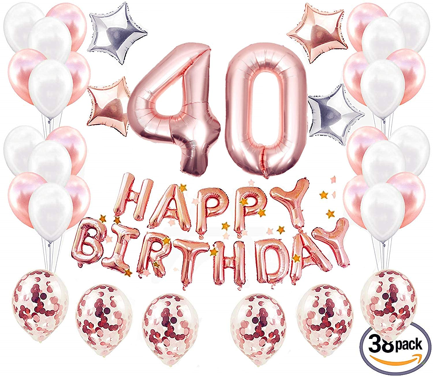 JeVenis 38pcs 40th Birthday Decorations Party Supplies Balloons Rose Gold40th Banner