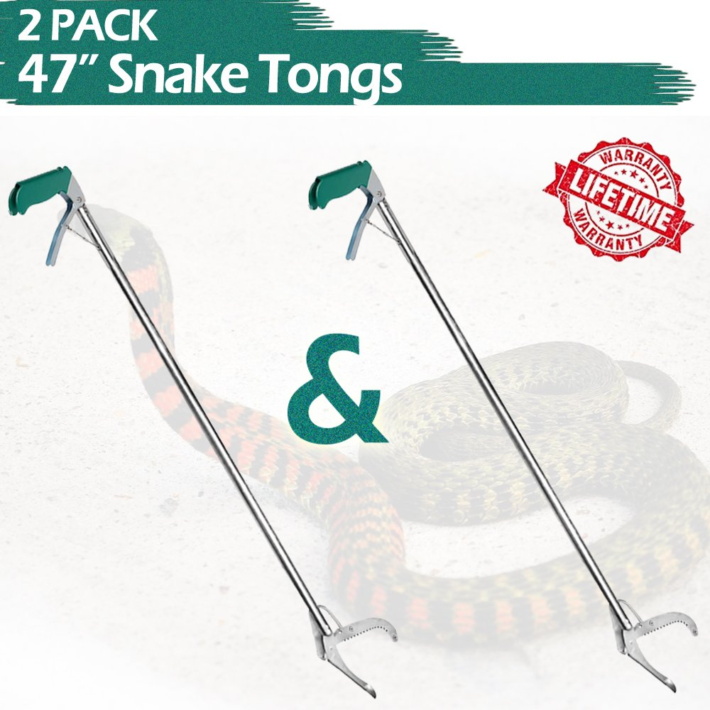 IC ICLOVER 47'' Snake Tongs [2 Pack], Heavy Duty Reptile Grabber Catcher Pick-up Handing Tool Snake Catcher with Lock on Non-slip Grip Handle Zigzag Wide Jaw for Catching Moving Snakes Lizard
