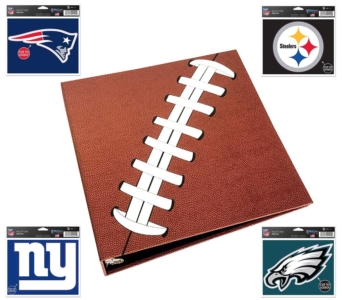 Pigskinz - 3 Ring Football Binder - Embossed Paper Looks and Feels Like a Real Football - Football Card Binder by allstarpaperz