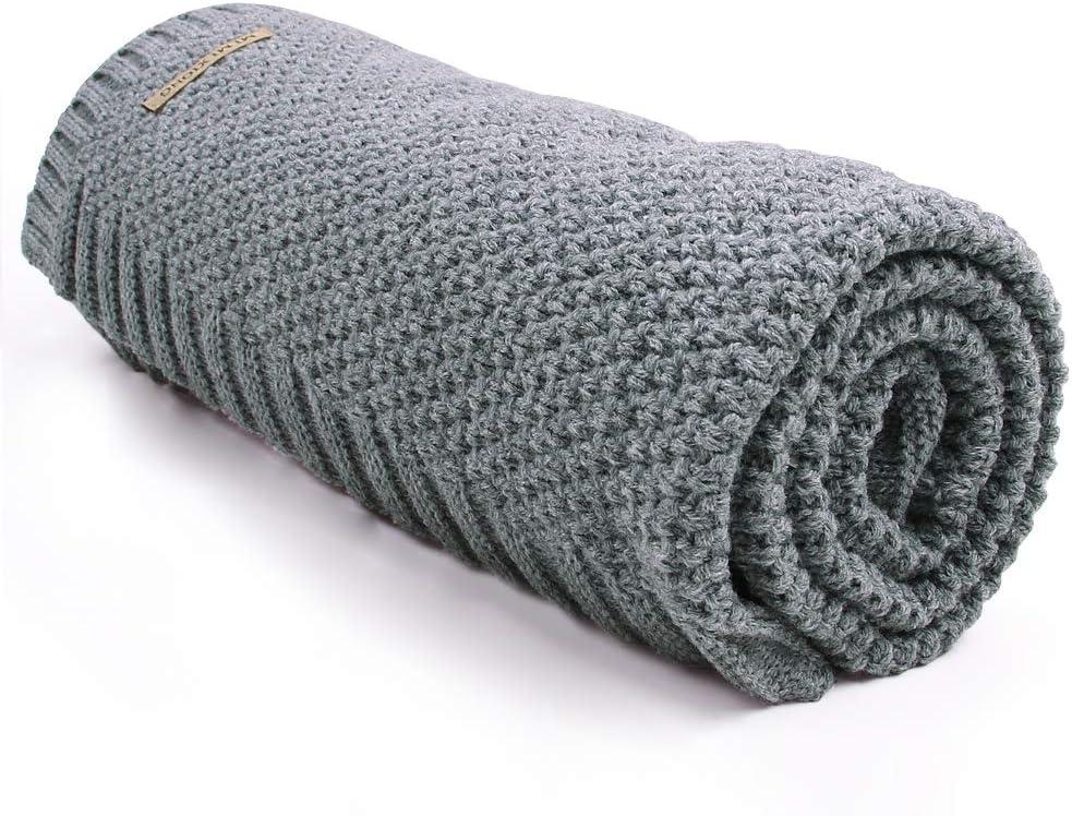 mimixiong Manta de Punto 100% acr¨ªlico y trenzado para beb¨¦ 80x100 cm(gris)