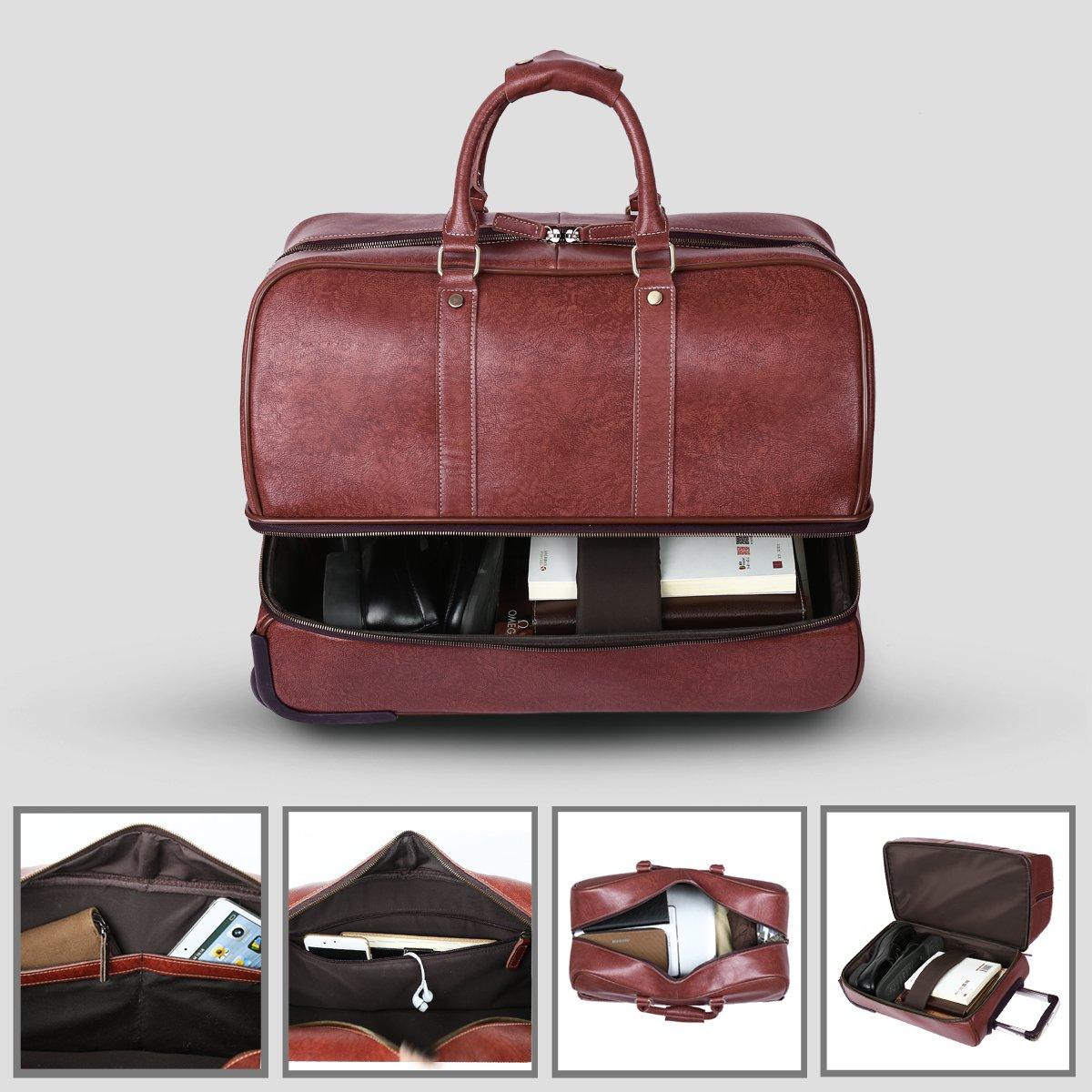 Leathario Leather Luggage travel duffle bag weekend overnight bag (Burgendy) by Leathario (Image #5)