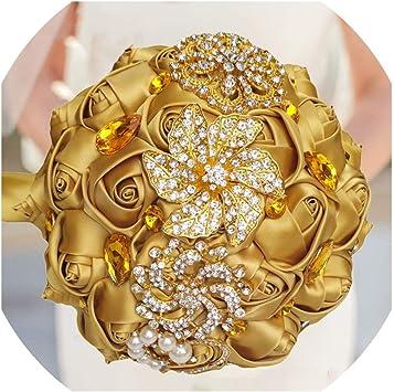 Nuevas Oro Grande De Flores Y Perlas Broche Diamante Cristal Boda nupcial Regalo Broche