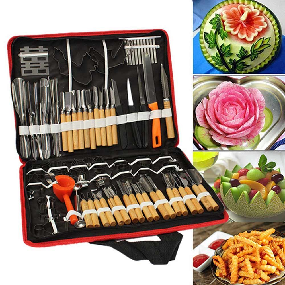 Lzndeal 80pcs/Set Portable Vegetable Fruit Food Wood Box Engraving Peeling Carving Tools Kit Pack