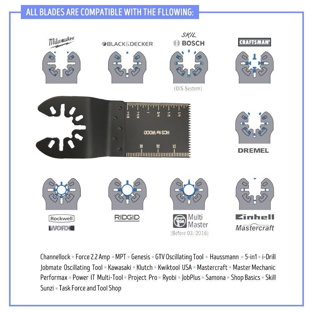 Tuhoomall 12 pcs 1.34 inch(34mm) Mixed Wood Oscillating Multitool Saw Blade Set Fits Fein Multimaster, Porter Rockwell Cable,Black & Decker,Bosch Craftsman,Ridgid Ryobi,Makita Milwaukee,Dewalt by Tuhoomall (Image #3)