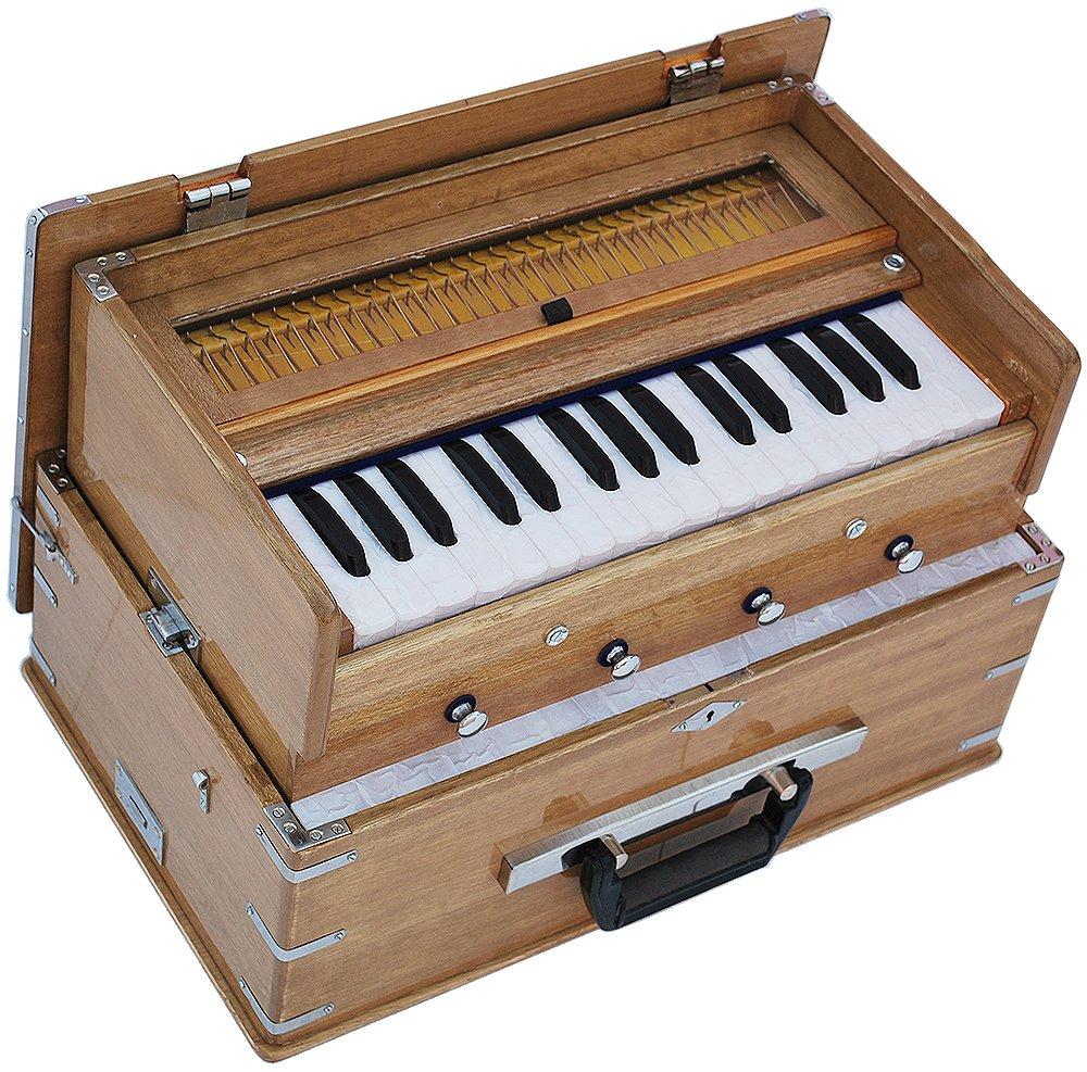 Safri Harmonium- 2¾ Octave By Kaayna Musicals-Portable, Traveler, Baja, 4 Stops (2 Drone), Two Set Reed- Bass/Male, Teak Color, Gig Bag, Tuning: 440 Hz, Suitable for Yoga, Bhajan, Kirtan, Mantra, etc by Kaayna Musicals (Image #3)