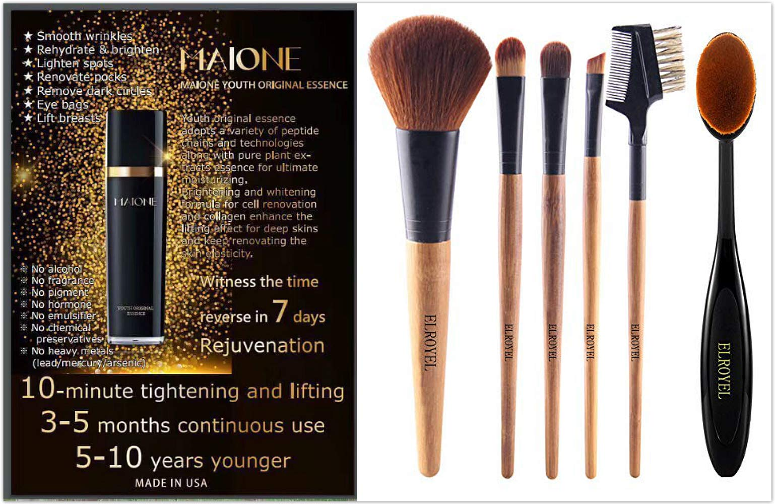 Maione Original Youth Essence 100 ml Recover Skin's Elasticity/Smooth Fine Lines BONUS: get one FREE ELROYEL Makeup Brush Set 6 Piece Organic Bamboo Makeup Brush Premium Quality (A $12 Value) by Greenpoint Resource