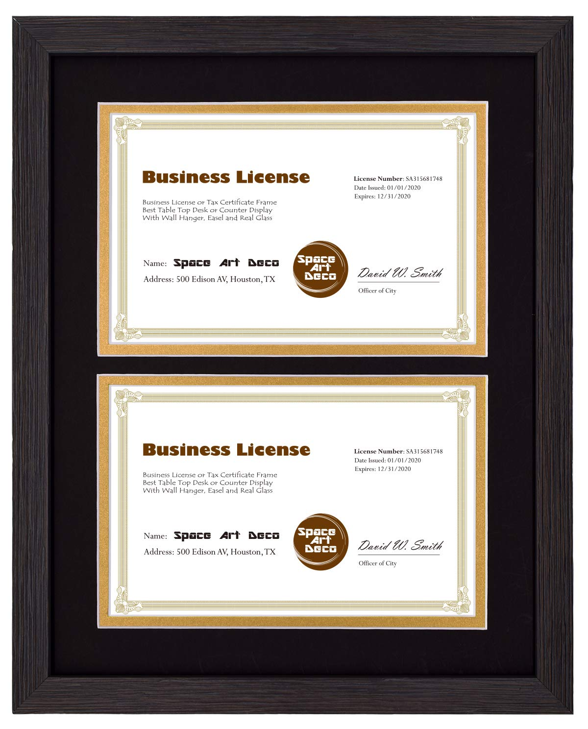 Space Art Deco 11x14 Dark Brown Textured Frame - Black/Gold Double Mat for Two 5.5x8.5 Documents- Sawtooth Hangers - Tempered Glass - for Business Licenses, Certificates, Documents