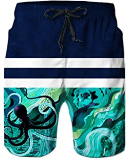 c6fdae8451bbb Uideazone Men Swim Trunks Drawstring Elastic Waist Surfing Beach Board  Shorts with Mesh Lining