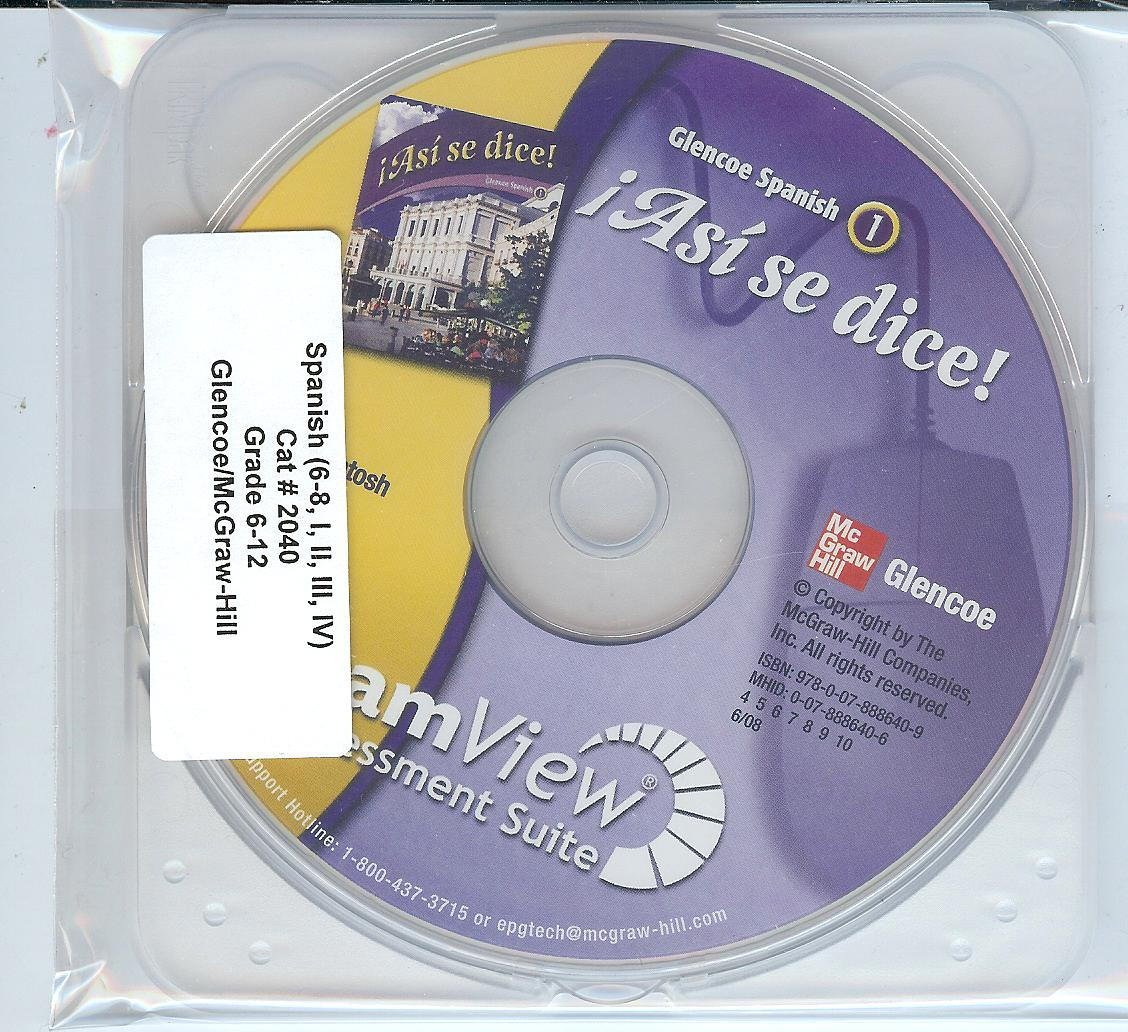 Asi se dice! ExamView Assessment Suite CD-Rom (Glencoe Spanish 1 ...