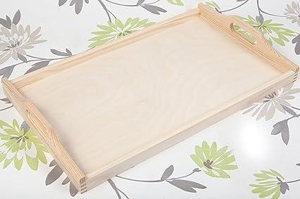 Tamaño grande de madera sin pintar bandeja para servir bandeja de té 6 x 30 x