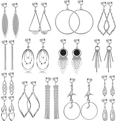 15 Pairs Wholesale Clip on Earrings for Women Fashion-Celtic Knot Earrings,Long Bar Earrings,Tear Drop Earrings Clip on Hoop Earrings for Women-Clipon Earrings for Women and Teen Girls