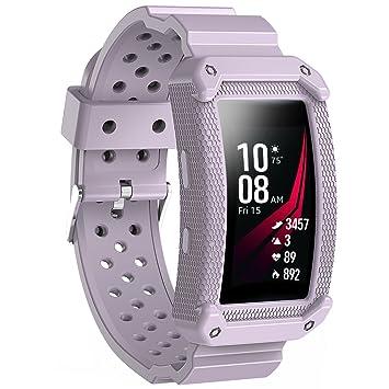 JIELIELE Correa de Silicona de Repuesto Bandas Deportivas Ajustables para Reloj Inteligente Samsung Gear Fit2 (Luz Púrpura): Amazon.es: Electrónica