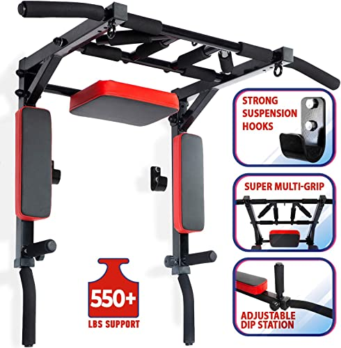 Wall Mounted Pull Up Bar and Dip Station Multi-Grip Chin-Up Bar Dip Stands Compact Power Tower