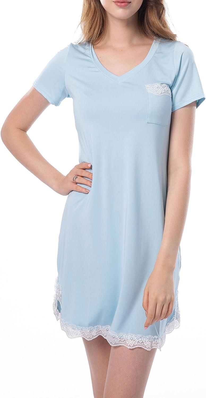 Pijamas de Manga Corta Mujer Camis/ón Verano Vestido de Dormir Camisa de Noche con Cuello en V Camis/ónes Largo 2020 para Mujer Camis/ónes con Bolsillo