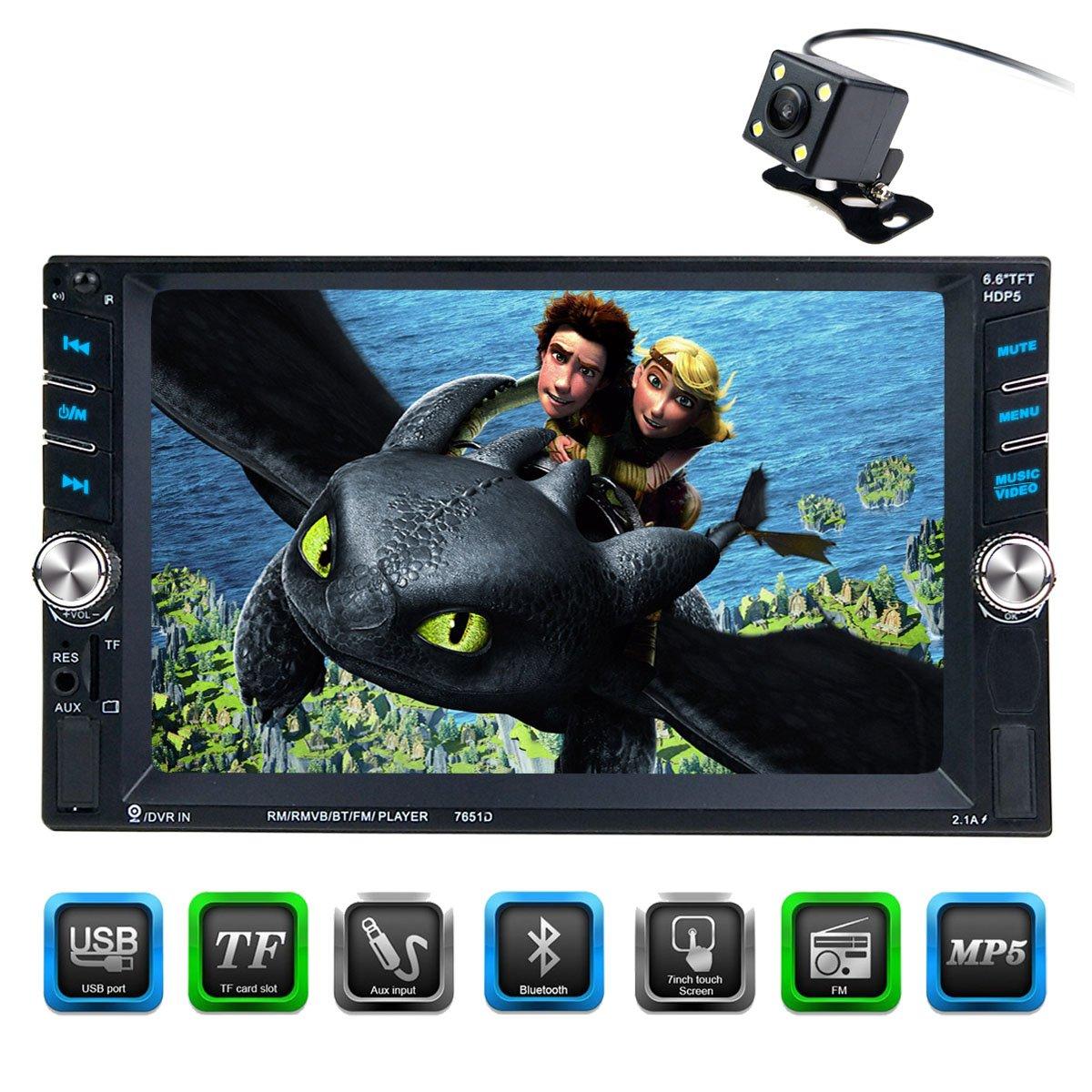 Cared 6.6インチタッチスクリーンカーステレオmp5プレーヤー、ユニバーサルダブルDIN、Bluetoothカーオーディオ受信機、ステアリングホイール制御、背面カメラ、mp3 USB/SD/AUX IN、MirrorLink、DVR入力、ワイヤレスリモート B078LYYVYW