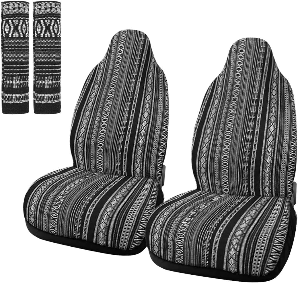 X AUTOHAUX 2pcs Gray Universal Front Seat Cover Protectors Saddle Blanket Bucket Seat Cover with Seat-Belt Pad for Car