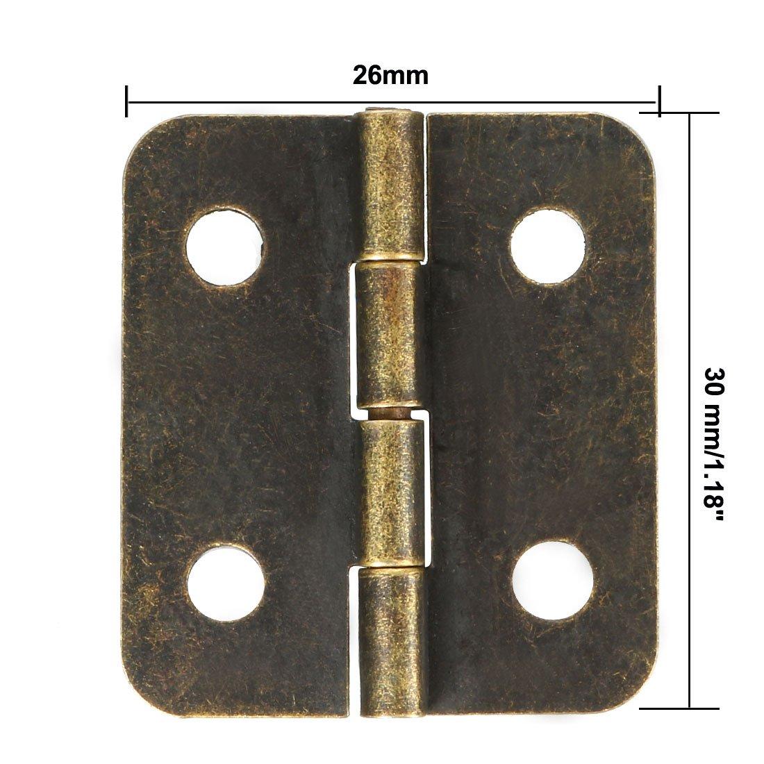 uxcell Bisagras de bronce antiguo de 3 pulgadas con tornillos 10 unidades