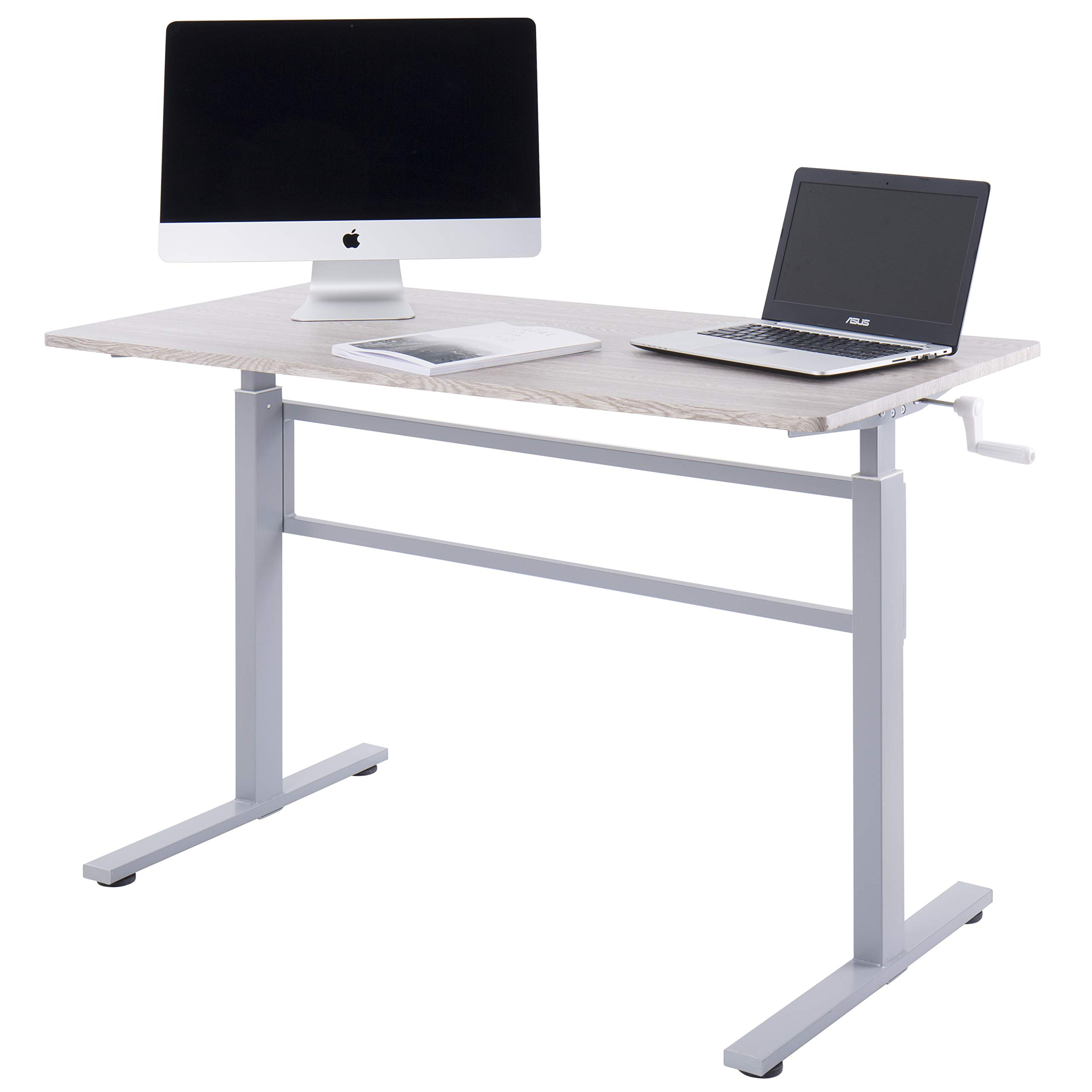 UNICOO - Crank Adjustable Height Standing Desk, Adjustable Sit to Stand up Desk,Home Office Computer Table, Portable Writing Study Table (Grey Oak Top/Gray Legs) by UNICOO