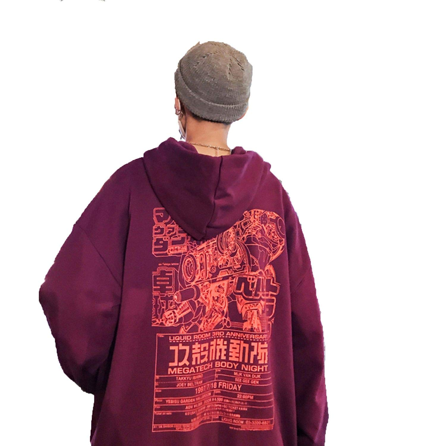 sdagtjuszgh Men Hip Hop Print Hooded Hoodies Mens Autumn Harajuku Sweatshirt Male Streetwear Pullover