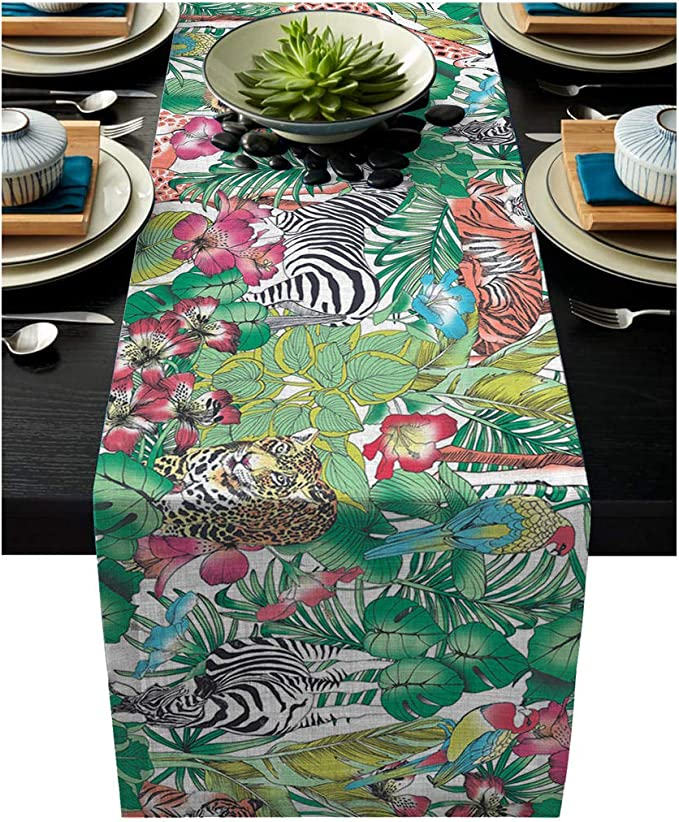 Tiger Prowl On Charcoal by thinlinetextiles Animal Print Tiger Table Runner Bengal Tiger  Cotton Sateen Table Runner by Spoonflower